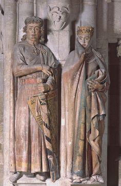 NAUMBERG MASTER, Ekkehard and Uta, statues in the west choir, Naumberg, Germany, ca. 1249-1255.  Painted limestone, Ekkehard 6′ 2″ high.