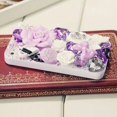 Flower Case for iPhone 4 & 4S with Rhinestone