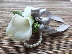 Wrist Corsage, White Calla Lily and Silver Grey Ribbon Corsage