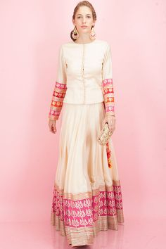 Beige short top and lehenga with embroidered trishul available only at Pernia's Pop-Up Shop.