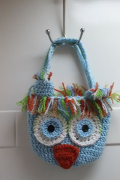 Owl tote crochet in Blue and Brown So by TreasuredBabyCrochet, $22.00