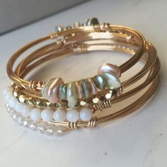 Pastel Pearl Simple Bangle by JennLynnAdamsBangles on Etsy https://www.etsy.com/listing/251435546/pastel-pearl-simple-bangle