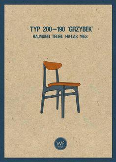 Warsztat Form Design:  Chair type 200-190 Designed by Rajmund Hałas in 1963