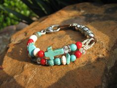 Indian Summer  Turquoise and Red Coral multi by fleurdesignz.etsy.com, $28.00