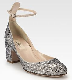 Valentino Crystal-Coated Suede Ankle Strap Pump