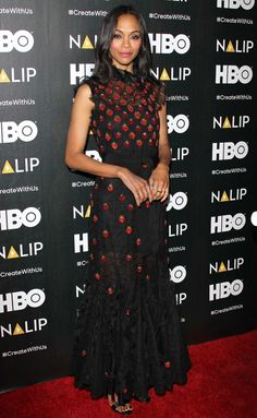 Zoe Saldana in a strawberry-print dress