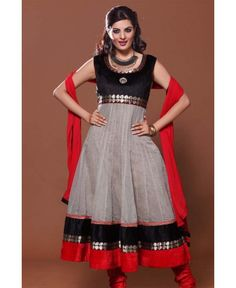 parrty suit black and grey colour with red dupaatta.