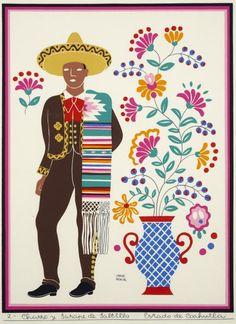 """Illustration by Carlos Menida, entitled """"Charro y Sarape de Saltillo- Estado de Coahuila."""""""
