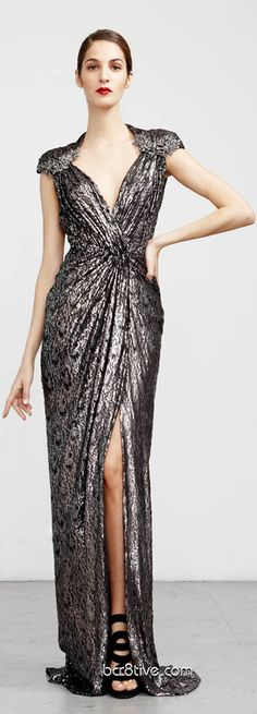 Abed Mahfouz Fall Winter 2012 - 2013 Ready to Wear - maybe a bit too sparkly, but gorgeous cut/gathering! Zuhair Murad, Elie Saab, Valentino, Dior, Silver Gown, Glamour, Chanel, Designer Gowns, Beautiful Gowns