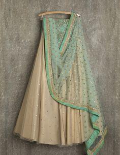 SwatiManish Lehengas SMF LEH 126 17 Gold dust lehenga with artic blue dupatta and blue thread and sequin blouse