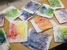 We finger painted over bubble wrap and then made prints.  Pre K art is all about the process, but the product looked kind of pretty, too!