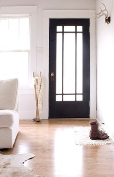 Love the glass and panes in this black door.