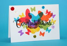 #SSS #SSSFaves Simon Says Stamp Butterfly set with Ranger Dye inks and Wow! melt-it enamel dots Simon Says Stamp Congratulations Die with Stick-it to make it a sticker