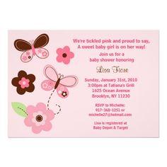 Butterfly Flowers Custom Baby Shower Invitations