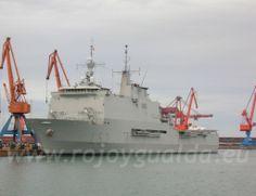 Anfibious assault ship LPD 'Castilla' (L52), Spanish Navy, at the Port of Gijón, Asturias, Spain #rojoygualda