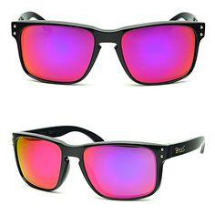 B.N.U.S Fashion Sunglasses Square Black Magenta Mirror Lenses for Women (Frame: Black, Magenta Flash).