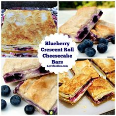 Blueberry Crescent Roll Cheesecake Bars. An incredibly easy recipe with cream cheese and blueberry filling sandwiched between layers of pastry.