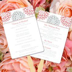 Printable Wedding Program Fan Template Floral by WeddingTemplates, $10.00