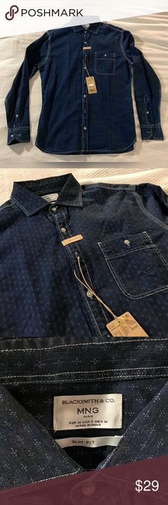 Mango Printed Denim Button Down Slim Fit Shirt NEW Brand new with tags.  Men's S but could fit a M nice and fitted.  Dark denim with a small print. Mango Shirts Casual Button Down Shirts