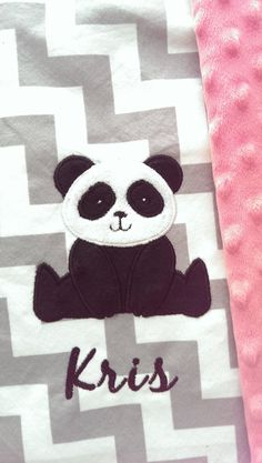 Panda Bear Baby Blanket  Personalized Baby by OurAdorableBaby