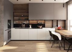 cuisine moderne intérieur rangement étagères