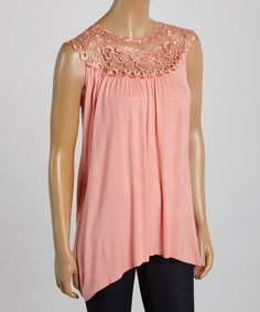 Look at this Coral Lace Yoke Top on #zulily today!