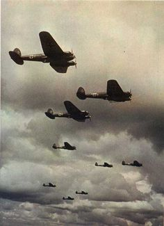 He-111s flying in formation.