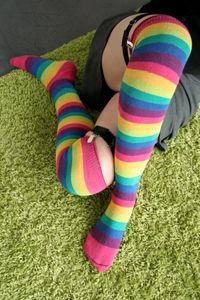 Our very own Dreamy rainbow over the knee socks in pastels and bold shades of cotton. My Socks, Knee Socks, Striped Tights, Rainbow Brite, Pride Parade, Colorful Socks, High Knees, Lesbian Love, Roller Derby