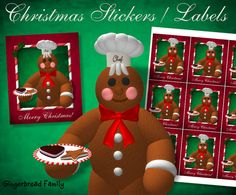 """Gingerbread Man """"Cookies"""" Stickers and Labels - Digital Download by DinkyPrints"""