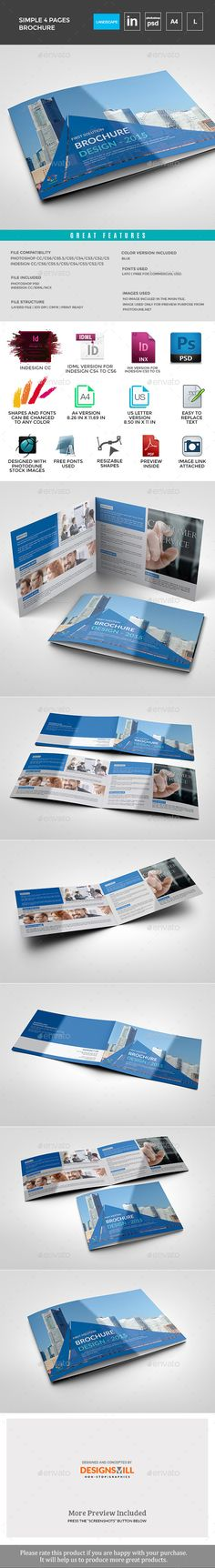Brochure - Corporate Brochures Photoshop and InDesign File with Properly organized layers Compatible with Indesign CC, CS6, CS5.5, CS5, CS4,Cs3 and Photoshop any CS Versions Fully Editable File A4 Size and US Letter Size Included Print Ready Files PDF Preview File InCluded Image can be easily replaced with own images and edit Very easy to edit and change Easy to add pages without loss of quality or layout Free fonts link Included Photos html links included Change colour easily with just 1…