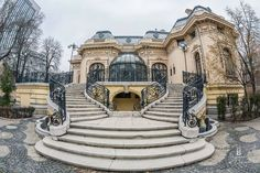 """The Assan House (today """"The Scientists's House""""), Bucharest, Romania Built between by the engineer and industrialist G. Bazil Assan, was. Historical Architecture, School Architecture, Art And Architecture, Architecture Details, Places To Travel, Places To Visit, Mirrors And Chandeliers, French Style Homes, Bucharest Romania"""