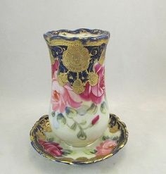 "Scarce Antique Nippon Hatpin Holder Hand Painted With Cobalt Blue, Gold And Roses - ""Maple Leaf"" #52  -  eBay"