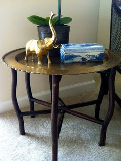 Vintage Folding Brass Tray Table by TwinInteriors on Etsy, $199.00