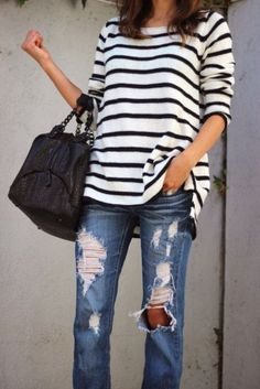 Spring & Summer 2017 Fashion trends! Ask your Stitch Fix stylist to send you items like this.#StitchFix #sponsored distressed jeans and stripes