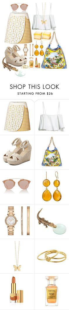 """""""Sweet Summer"""" by carlagoiata ❤ liked on Polyvore featuring Moschino Cheap & Chic, WithChic, Dolce&Gabbana, Christian Dior, Michael Kors, L'Objet, Sydney Evan, Gorjana, Estée Lauder and Tom Ford"""