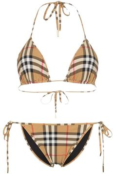 Burberry Beige Multicolor Classic Check Triangle Top Bikini Mid-length Short Casual Dress Size 8 (M) Bikini Swimwear, Bikini Set, Swimsuits, Burberry, Triangle Bikini Top, Bikini Photos, Trench Coats, Bra Tops, Designing Women