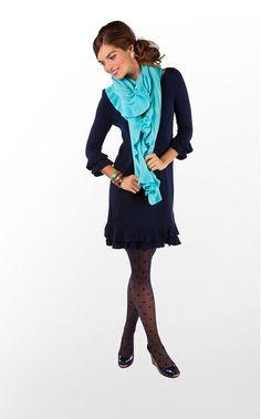 Cutest Combo!  Polka Dot Tights, Navy Dress, Flats, Ruffle Scarf, and Colored Bangles!  Love it!!