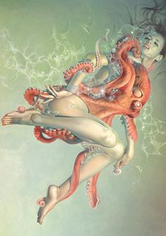 As a female that would be horrid. Cool artwork though, no nudity, even though I have pins with nudity. Lol I like art, can't help if it's nude or not Images Graffiti, Le Kraken, Motif Art Deco, Octopus Art, Octopus Design, Cthulhu, Erotic Art, Art Girl, Painting & Drawing