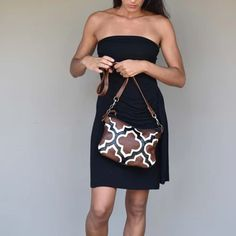 A handmade leather cross body bag with top zip closure and Moroccan inspired design on the front. Handmade and hand cut two tone leather handbag. Leather Crossbody Bag, Leather Handbags, Moroccan Design, Handmade Leather, Cross Body, Strapless Dress, Fashion Accessories, Design Inspiration, Closure
