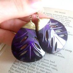 Dark Purple Leaf Earrings by EridaneasBoutique on Etsy