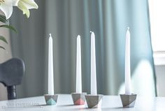 Modern concrete candle holders | DIY | www.evenyaru.com