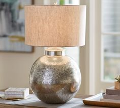 Nori Hammered Table Lamp Base - Antique Silver
