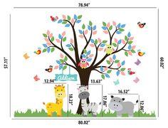 Nursery Tree Decal Jungle Wall Decal Monogram Wall Decal