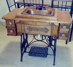 Antique Treadle Sewing Machine Vanity Bathroom Sink | eBay I want this!