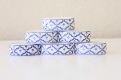 Blue and White Porcelain Napkin Ring by SavvyVintageBoutique
