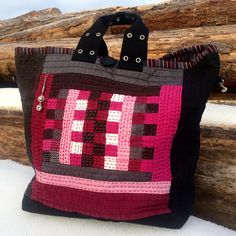 Quilted tote, Repurposed Linen Tote, Hand Quilted Patchwork Bag by HobbsHillQuilts on Etsy https://www.etsy.com/listing/269139373/quilted-tote-repurposed-linen-tote-hand
