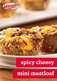Spicy Cheesy Mini Meatloaves – Add some spice to these perfect sized meatloaves—made with ground beef, tortilla chips, tomatoes, green chilies and VELVEETA—for a quick and easy dinner!