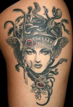 Nice Beautiful Medusa Tattoo Designs