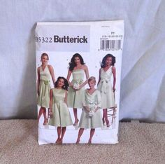 Bridesmaids dress pattern, Butterick B5322, sizes 16-24, cut, but complete by streetcrossing on Etsy