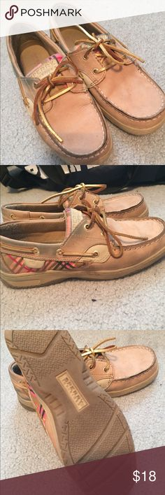 Sperry's Tan, pink plaid on sides, gold ties, size 6. Slightly worn, slightly stained from wearing with jeans. Great condition otherwise though Sperry Shoes